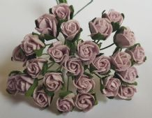 8mm MEDIUM PALE LILAC SEMI-OPEN ROSE BUDS Mulberry Paper Flowers